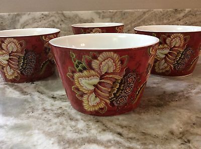 Gabrielle Red Dessert Bowls Set Of 4 Beautiful. 222 Fifth Porcelain. New. ()