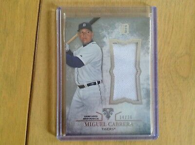 (Miguel Cabrera 2015 Topps Triple Threads Game Used Jersey Card 34/36)