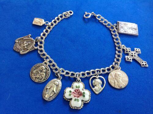 """Vintage Sterling Silver Saint Medal Charm Bracelet Guilloche Slide Medal 7-1/2"""""""