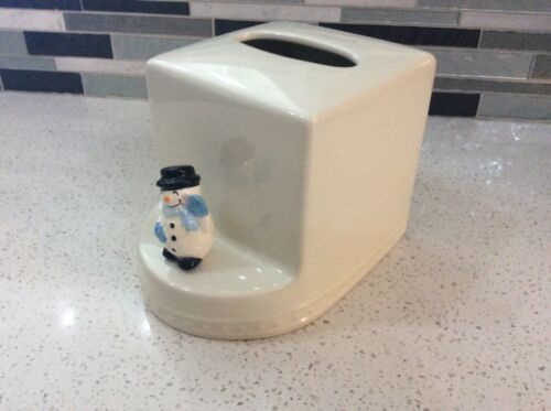 Nora Fleming stoneware tissue holder box w/ snowman mini