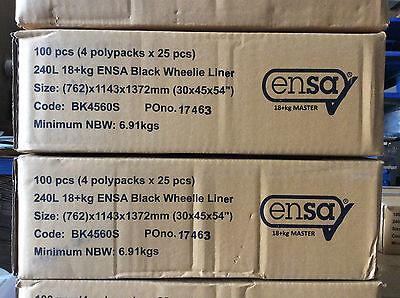 100 x Wheelie Bin Liners Binliners Black 240L 18+kg 30x45x54