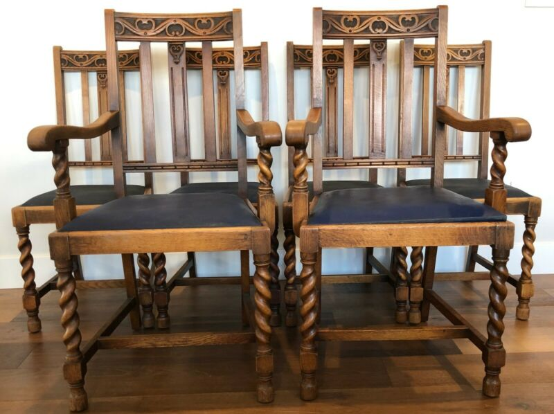 Antique Barley Twist Oak Dining Chairs 1920s