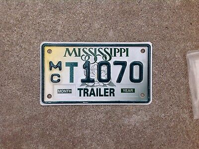 """MISSISSIPPI - """"MOTORCYCLE TRAILER"""" - LICENSE PLATE - NOS - NEVER USED"""