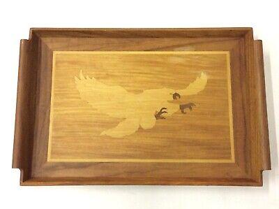 Vintage MID CENTURY INLAID Wooden TRAY EAGLE American Folk Art B9