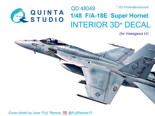 Quinta QD48049 1/48 F/A-18E 3D-Printed&coloured interior (for Hasegawa kit)