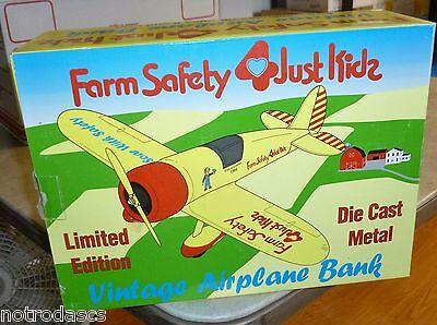 RARE Vintage Farm Safety 4 Just Kids Kidz Airplane Bank Die Cast LTD LE 1:32