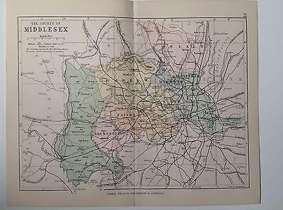 Middlesex Antique County Map, 1885, Coloured, Atlas, Harrow, Ealing, Tottenham
