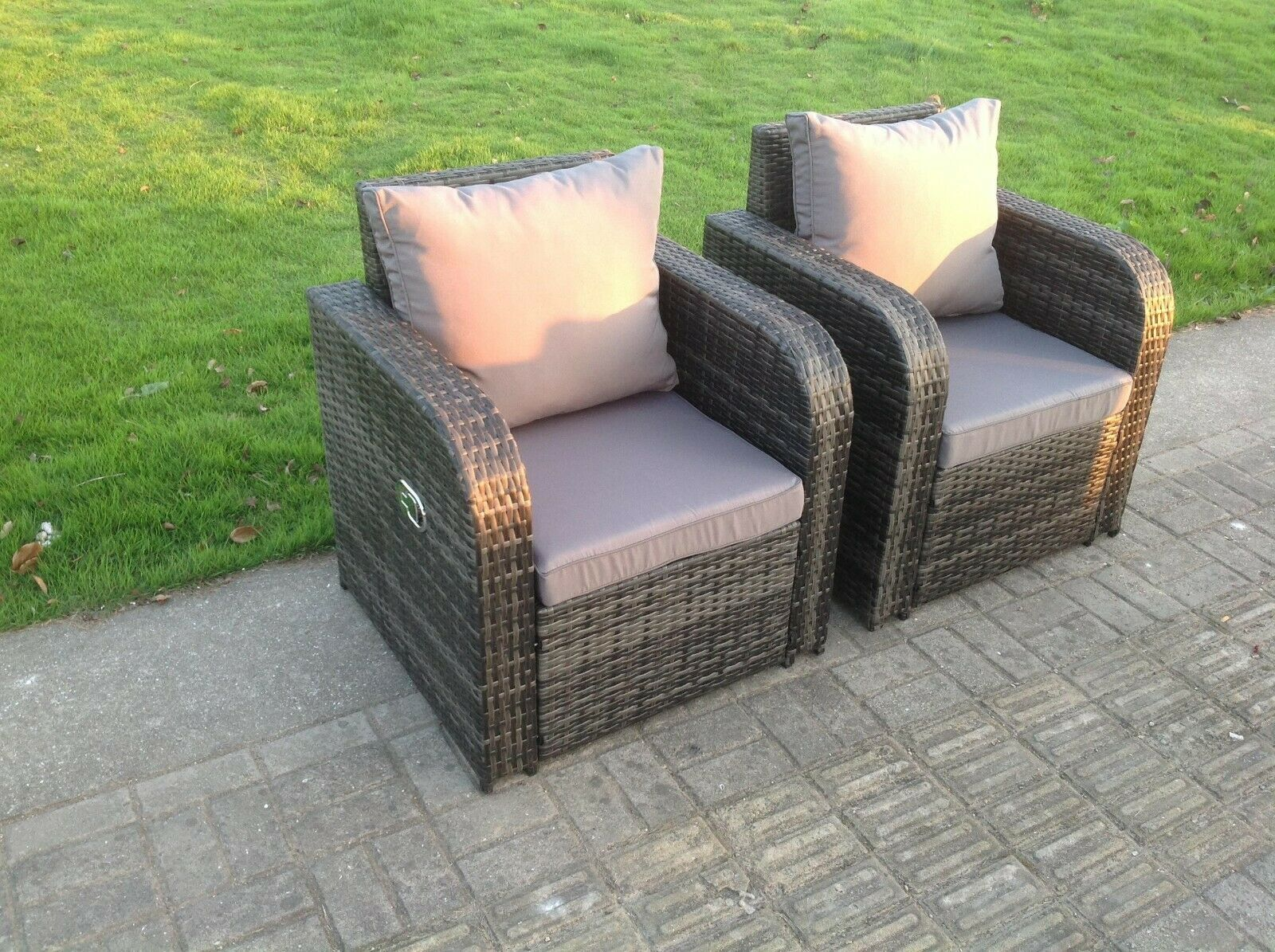 Garden Furniture - 2 PC Reclining Rattan Sofa Chair Patio Outdoor Garden Furniture Set With Cushion