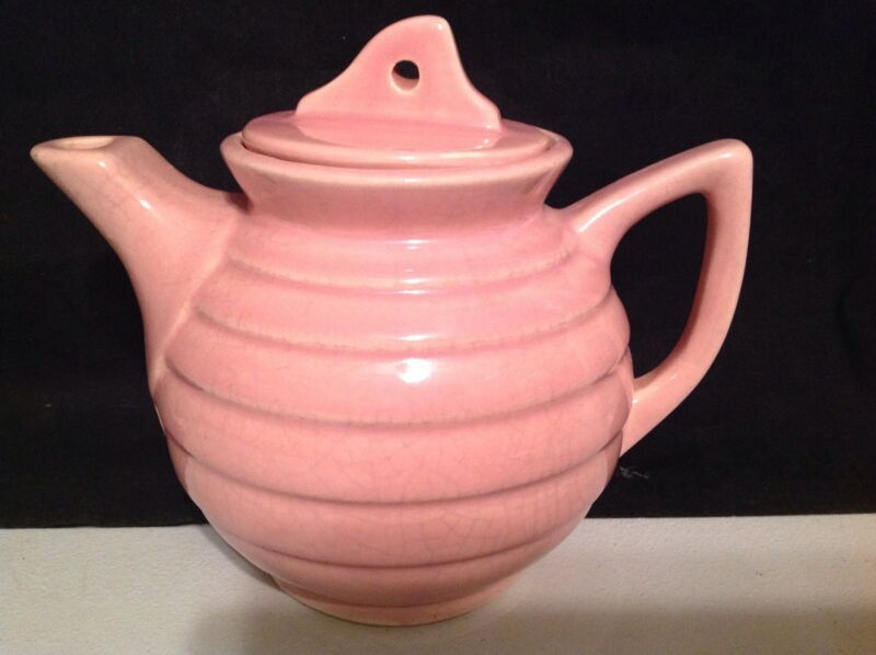 Vintage Brush McCoy Pottery Ringed Band Pink Teapot