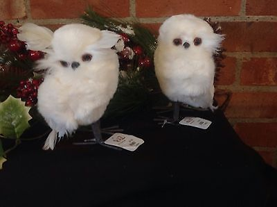 """Raz Feathered Owl White 5.5"""" Soft Fluffy Christmas Or Every Day!"""