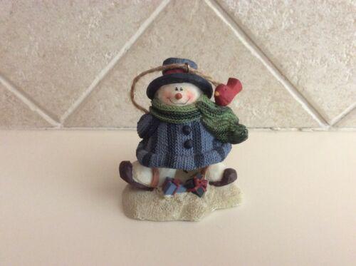 Vtg Crazy Mountain Snowman Skier with Bird Figurine