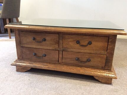 Near Perfect Mango Hardwood 8 Drawer Coffee Table Botany Botany Bay Area Preview