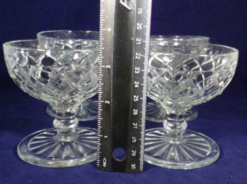 Anchor Hocking Sherbets Set 4 Waterford Waffle Clear Footed No Damage