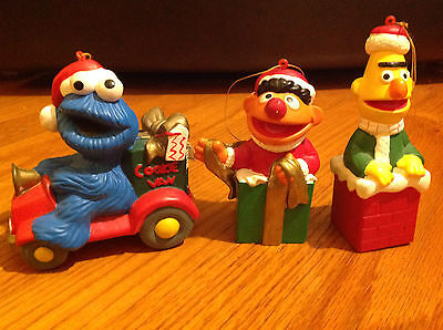 Sesame Street Christmas Ornaments Set of 3 Vintage Jim Henson Muppets Figurines