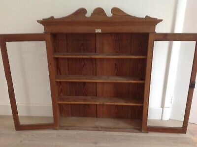VINTAGE PINE GLASS FRONTED CUPBOARD