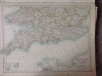 England & Wales Southern or Northern Scotland, Antique Map 1891 Large