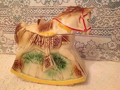 Vtg Mc Coy Rocking Hobby Horse Mid Century Ceramic Cookie Jar