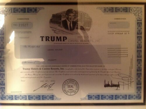 Donald Trump Hotels and Casino Resorts Inc STOCK certificate 2001