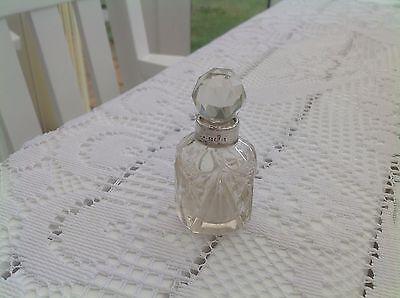 Vintage Birmingham Silver Rim Cut Glass Scent Perfume Bottle