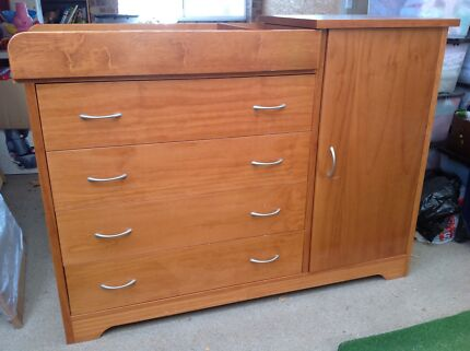 Solid Wood Cupboard/Drawer/Baby Change Table Set with a Cot To Match Daisy Hill Logan Area Preview