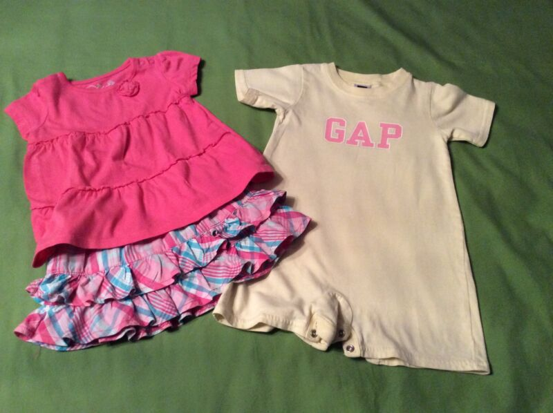 Baby Girl Size 6/12 Months Plaid Izod Skirt Yellow Gap Play Suit Pink Jb Top 55