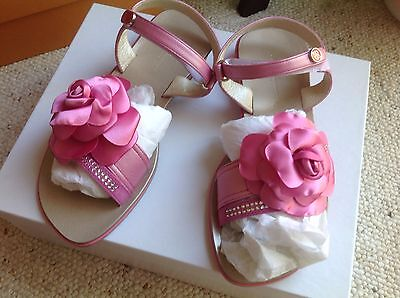 New Miss Blumarine Sandals With Flowers And Crystals. Size 36. Made In Italy.
