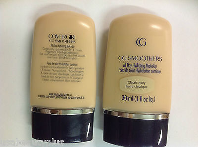 2 X CoverGirl CG Smoothers All Day Hydrating Makeup Foundation CLASSIC IVORY.