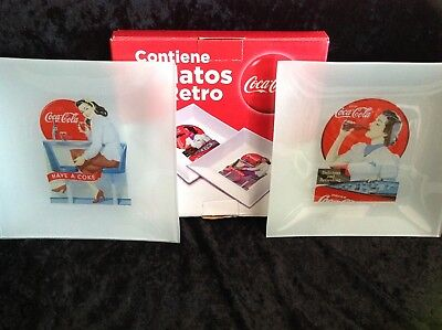 NEW BOXED PAIR OF 125th ANNIVERSARY COCA COLA GLASS-COLLECTORS PLATES-LAST PAIR!