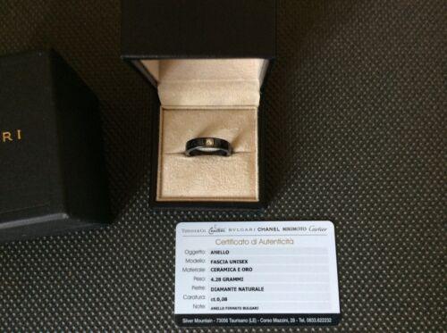 Bvlgari Diamond Gold And Black Ceramic Ring Unisex Boxed Genuine Bulgari