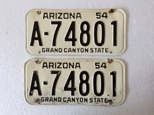 1954 Arizona license plate pair A-74801 Maricopa County MVD clear YOM