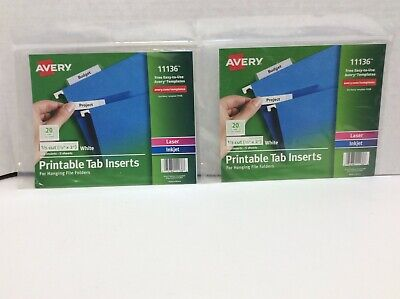 Avery Hanging File Folders 15 Cut For 2 Tabs 100inserts 2lot