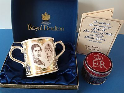 ROYAL DOULTON- MARRIAGE of CHARLES & DIANA ROYALTY LOVING CUP+SILVER JUBILEE TIN