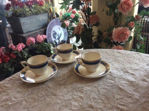 Set Of 3 Grindley England Georgian Iborie Demitasse Blue/Gold  Cups & Saucers