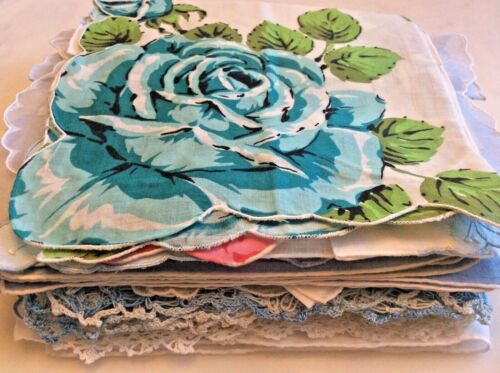 25 STUNNING Vintage Lace & Linen Floral Handkerchiefs Turquoise Embroidery Roses