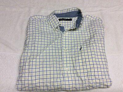 Mens Nautica Casual Button-Up Shirt Plaid Yellow/Blue Sz M