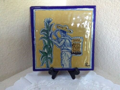 Vintage ~ Signed URIARTE ~ Mexico Pottery Scenic Tile Corn Harvest