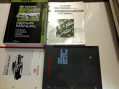 1995 TOYOTA LAND CRUISER Service Shop Repair Manual SET W EWD & Bulletins + MORE