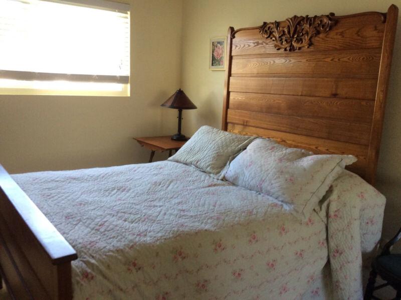 Antique Tall Oak Full Size Bed - High Back - Carved Details