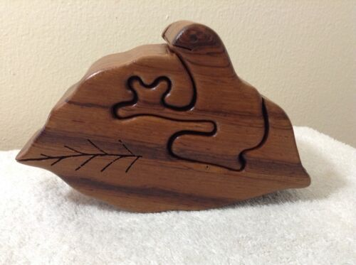 Large Wood Frog Puzzle Trinket Box 7 1/4""
