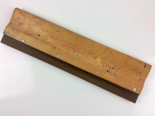 "Vintage Screen Printing Squeegee 21"" Long Wood Contoured Hand Grip Oil Ink Blade"