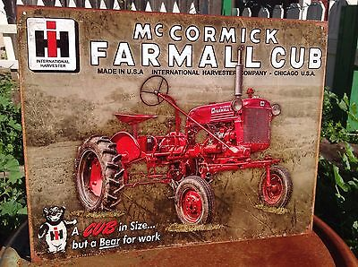 MCCORMICK FARMALL CUB Tractor Tin Metal Sign Wall Garage Classic