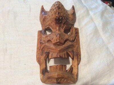 Hand Carved Wood Devil Face