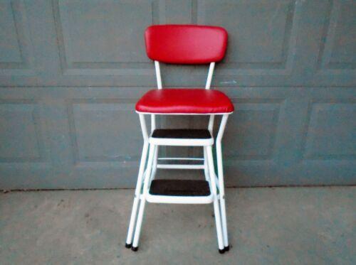 Vintage COSCO Chrome RED Kitchen Chair Step Stool Flip Seat Retro Mid
