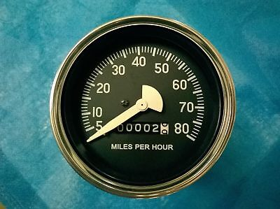 Willys Jeep 80 mph Speedometer black face chrome bezel