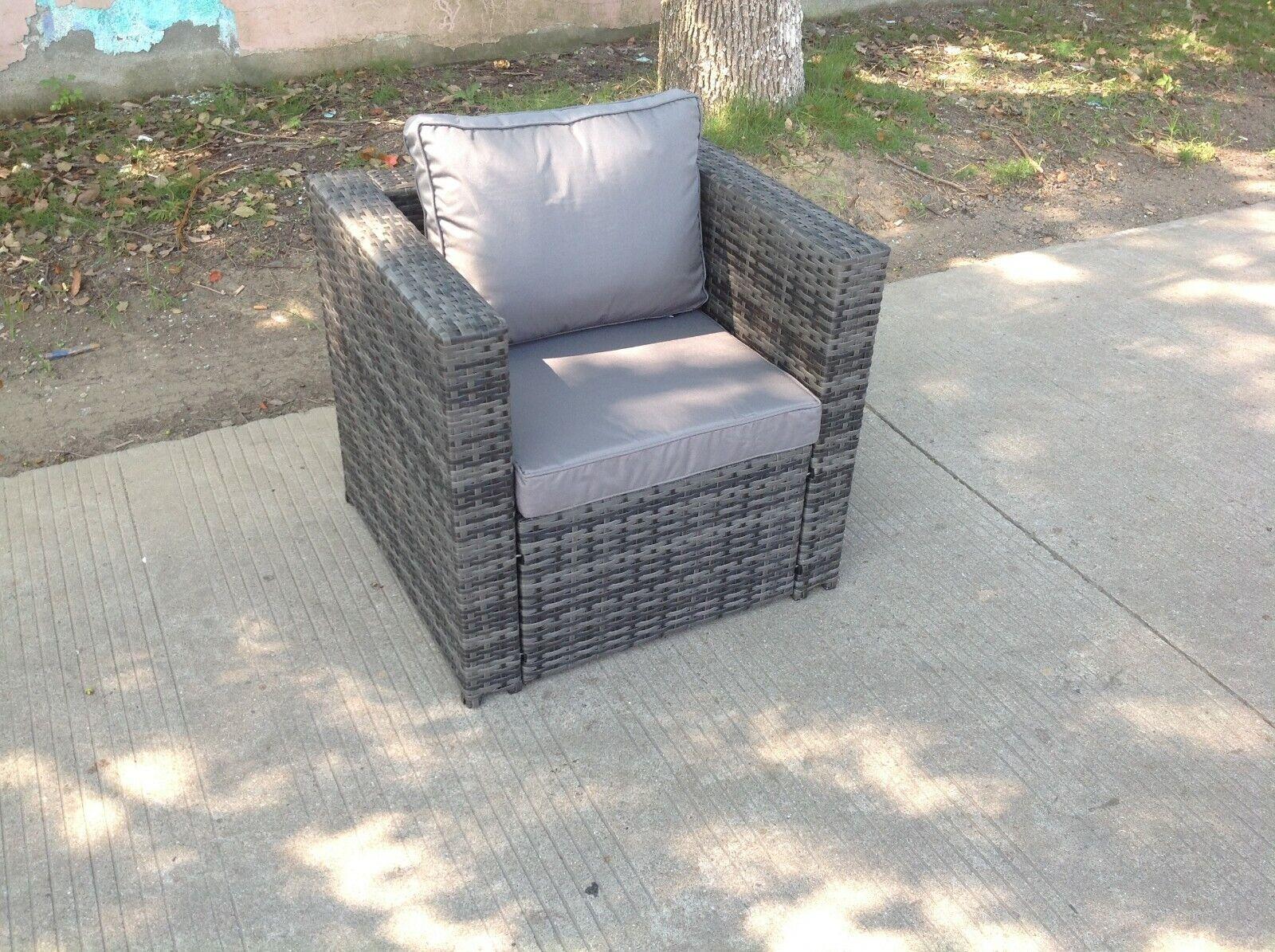 Garden Furniture - rattan single sofa chair patio outdoor garden furniture sofa set with cushion