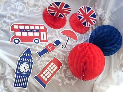 British Party Decorations 9 piece English London Royal Union Jack Shower - Royal Party Decorations