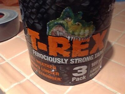 T-rex Ferociously Strong Duct Tape 3 Rolls Each 1.88 In. X 35 Yd. Grey