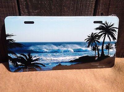 Blue Waves Palm Trees Ocean Beach Sand Novelty License Plate Bar Wall Decor - Ocean Blue Plate
