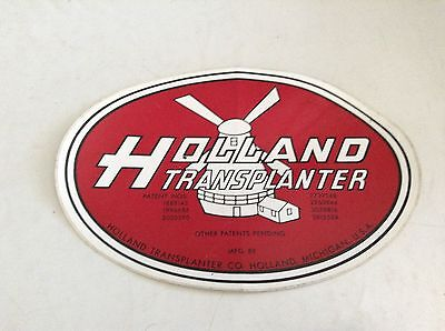 A New Holland Transplanter 4x6 Oval Decal Logo For Holland Transplanter Setters.