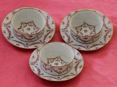 Haviland Limoges Ramekins & Saucers Pink Rose Swags Blue Ribbons Gold!